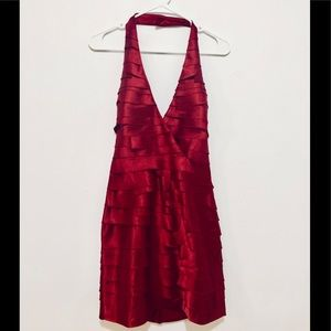 NEW BEBE Mini Halter Red Dress